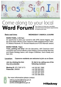 Cazenove Ward Panel and Ward Forum 3 March 2021